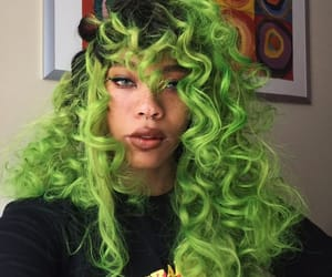 colored, girl, and green image