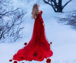 red, dress, and snow image