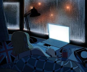 anime, art, and rain image