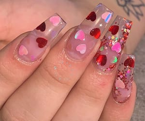 nails, valentine, and heartnails image