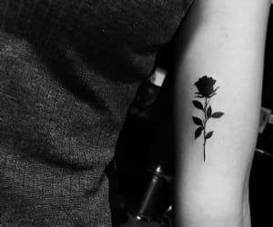 arm tattoo, black rose tattoo, and girl tattoo image