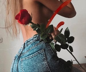rose, denim, and girl image