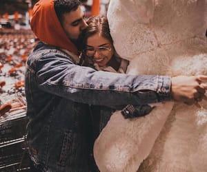 couple, hug, and teddy bear image