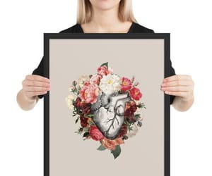 anatomical heart, etsy, and red roses image