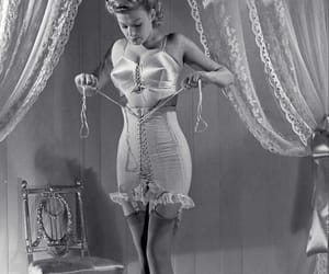 vintage, black and white, and corset image