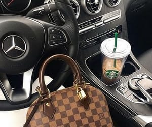 Louis Vuitton, starbucks, and car image