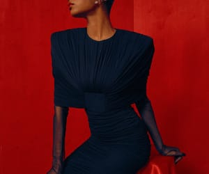 fashion editorial, red, and interracial marriage image