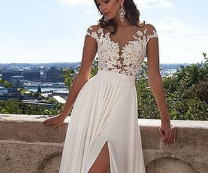 lace wedding dress, white prom dresses, and sexy prom dresses image