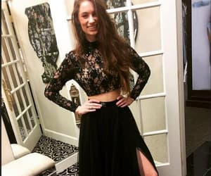 long prom dress, prom dress with sleeves, and lace black prom dress image