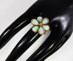 daisy flower, opal ring, and 14k gold image