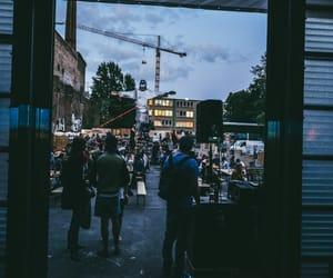 crowd, sundown, and lomography image