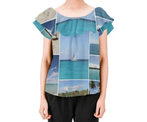 beach fashion, off the shoulder blouse, and caribbean photo collage image