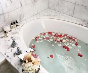 bath, flowers, and luxury image