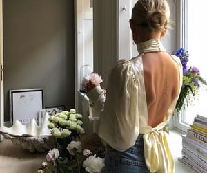 flowers, silk, and girl image