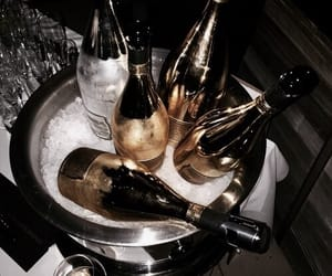 champagne, drink, and gold image