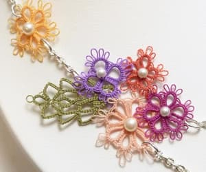 crochet, flower necklace, and statement necklace image