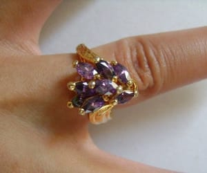 etsy, 14k yellow gold ring, and gold amethyst ring image