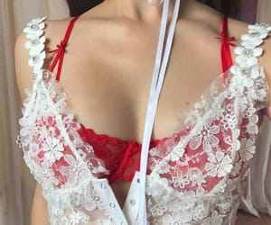 lace, red, and white image