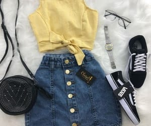 yellow, outfit, and clothes image