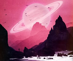 art, pink, and saturn image