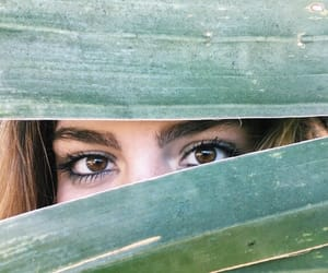 beach, brown eyes, and green image