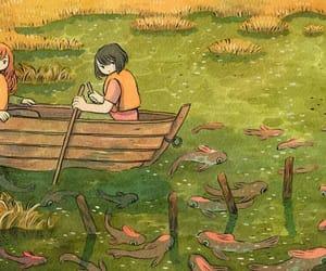art, illustracion, and lake image