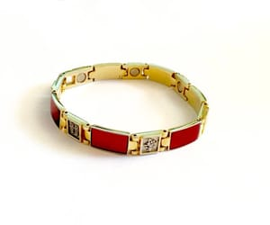 costume jewelry, etsy, and red and gold image