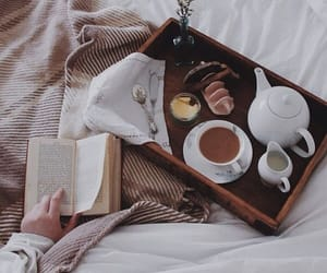 book, breakfast, and cozy image