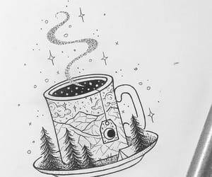 drawing, tea, and art image