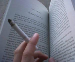 book, cigarette, and smoke image
