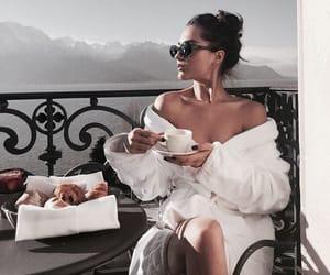 girl, breakfast, and balcony image
