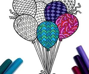 art, drawing, and ballons image