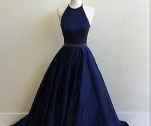 long prom dress, prom dress blue, and prom dress backless image