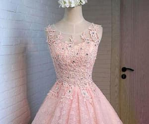 prom dress pink, prom dress a-line, and homecoming dresses lace image