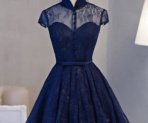 blue prom dress, lace prom dress, and custom prom dress image