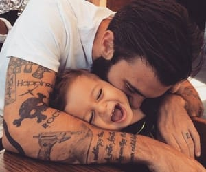 baby, tatoo, and dad image