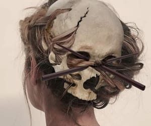 art, hair, and skull image