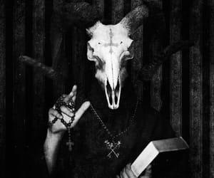 satan, black and white, and skull image