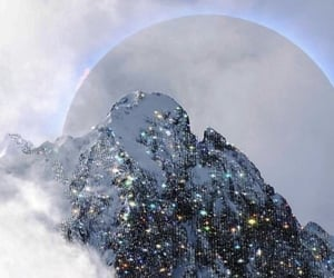 bedazzled, clouds, and moon image