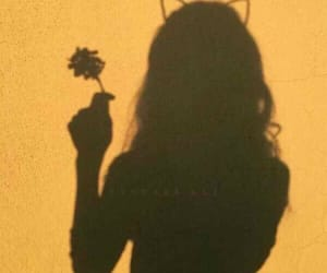 yellow, girl, and shadow image