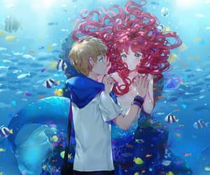 anime girl, couple, and mermaid image