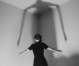 ombre, black and white, and scary image