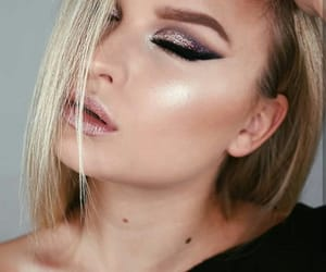 makeup, nude lips, and glitter eyes image