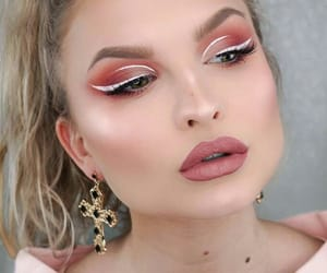 makeup, nude lips, and white eyeliner image