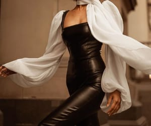 black and white, leather, and chic image