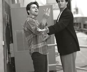 black and white, chandler bing, and joey tribbiani image