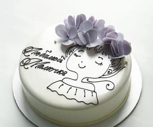 cake, white, and flower image