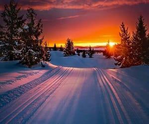 atardecer, blanco, and nieve image