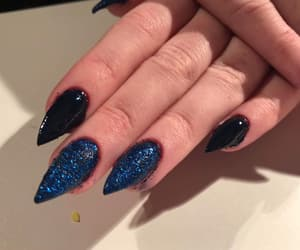 blue nails, gel, and glitter image