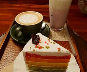 cafe, cake, and coffee image